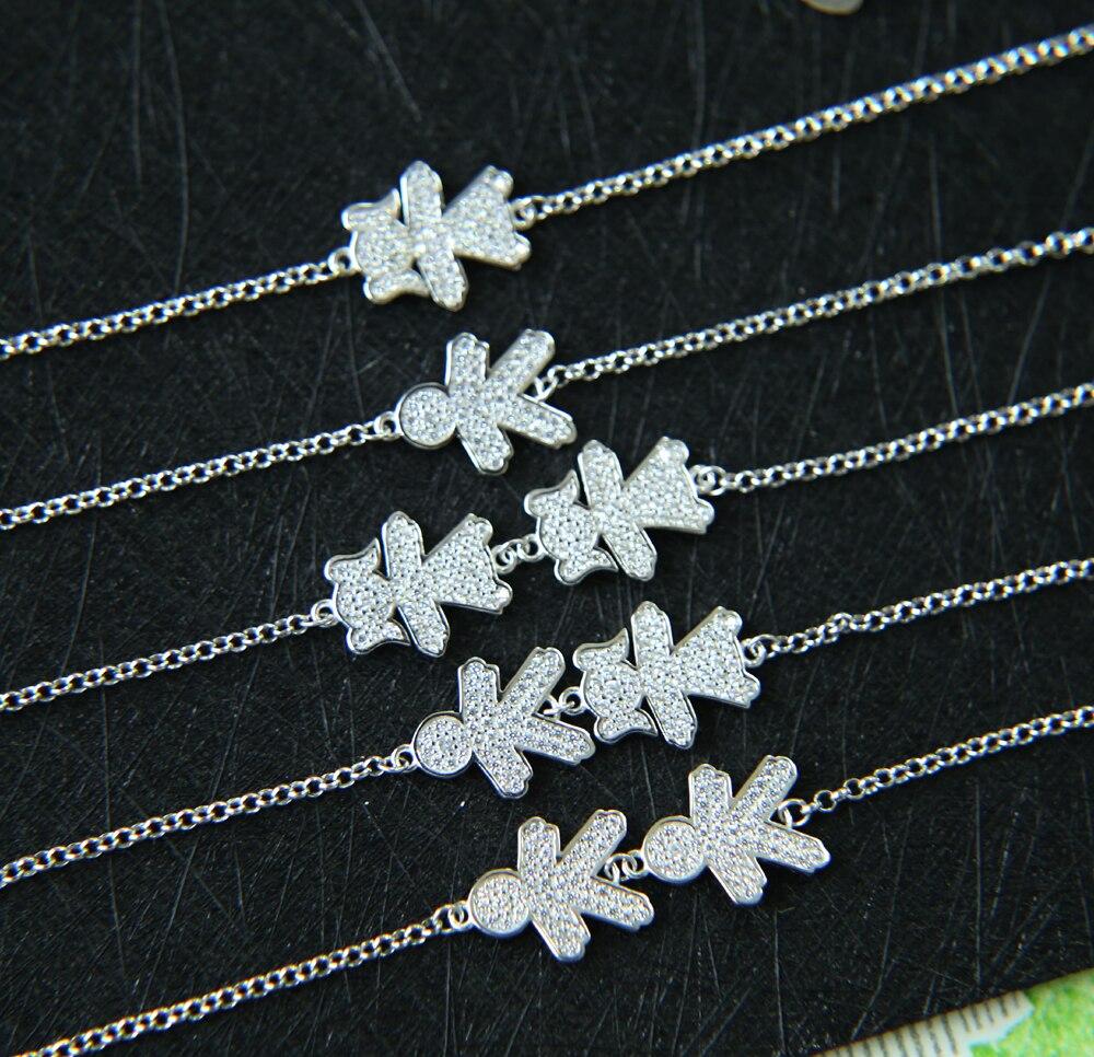Authentische 925 Sterling Silber Junge Und Mädchen charme Link link Armband Für Frauen Russland Einstellbar Armband Großhandel