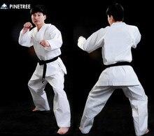 free shipping Pinetree karate uniform Kick boxing Taekwondo suit training competition clothes white child adult free belt