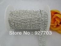 CM83 5 Yard 5 Rows Wedding Decoration Rhinestone Crystal Cup Chain Cake Ribbon SS16