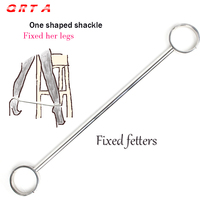 QRTA 74cm Male Female Stainless Steel Fixed Fetter Anklet Shackles Restraint Bondage ankle sex toys adult Products foot lock