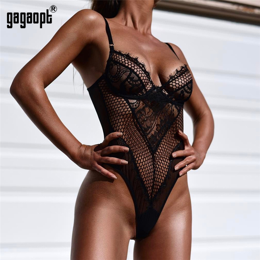 Gagaopt 5 Colors Lace Bodysuit Women Hollow Out Sexy Bodysuit Fashion White/Black Bodysuit   Jumpsuit   Overalls Sleepwear