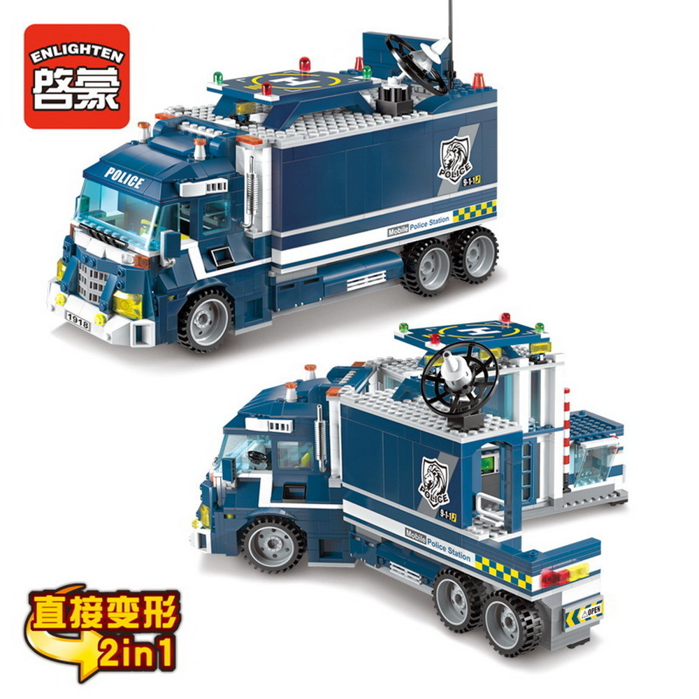 ENLIGHTEN Special building police compatible with headquarters Police Station motorbike helicopter Model kits lepin city block цена