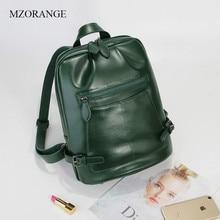 MZORANGE New 2018 Soft Genuine Leather Fashion Backpack For Teenage Girls Womens Travel Bags Ladies Shoulder School