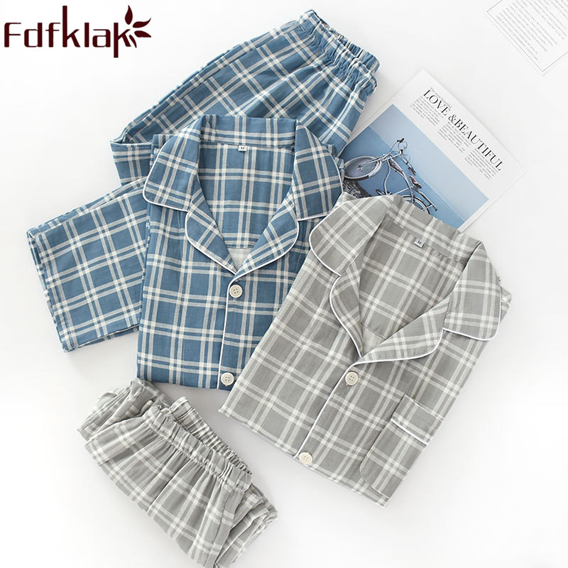 Men's Pajamas Long Sleeve Cotton Home Clothes For Men Pyjama Set Spring Summer Sleeping Suit Night Wear Plaid Pijamas Fdfklak