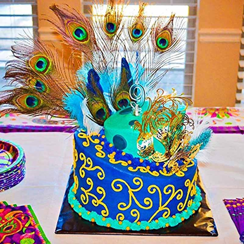 Prime 20Pcs Peacock Feather Bridal Shower Birthday Cake Topper Propose Personalised Birthday Cards Veneteletsinfo