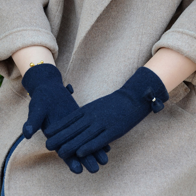 Fashion Elegant Female Wool Knit Embroidery Touch Screen Gloves Winter Women Warm Cashmere Full Finger Bow Dotted Gloves C21