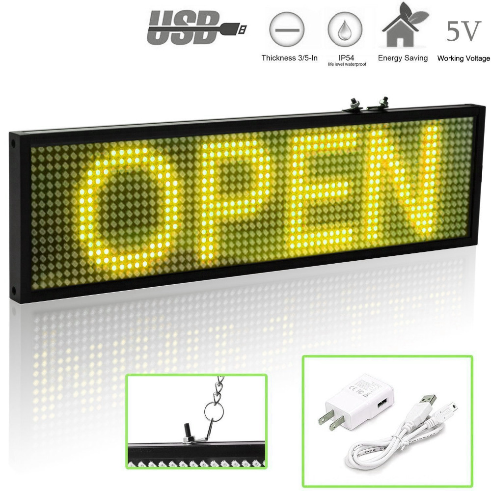 34cm P5 SMD Wifi Scrolling LED Sign Message Board For Business, Mobile Phone Programmable Scrolling Message Advertising Display
