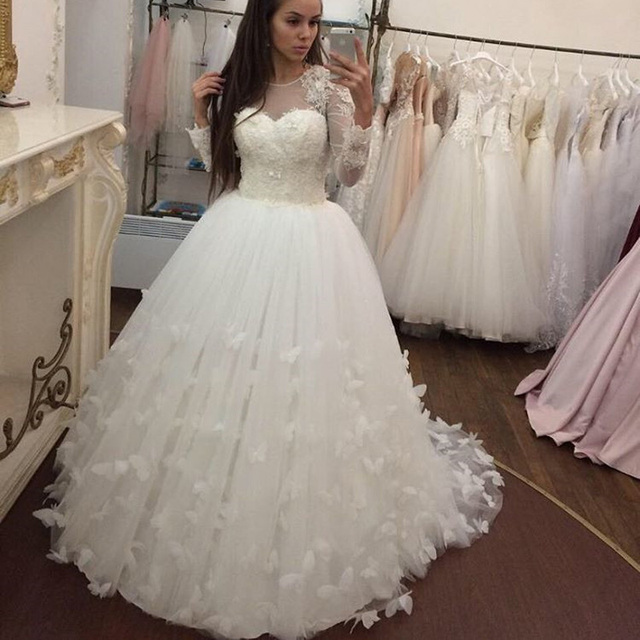 White Ivory Long Sleeves Wedding Dresses Butterfly Ball