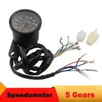 Black Silver Motorcycle Speedometer 0 160km H Digital 5 Gears Guage Universal Odometer For Harley Honda