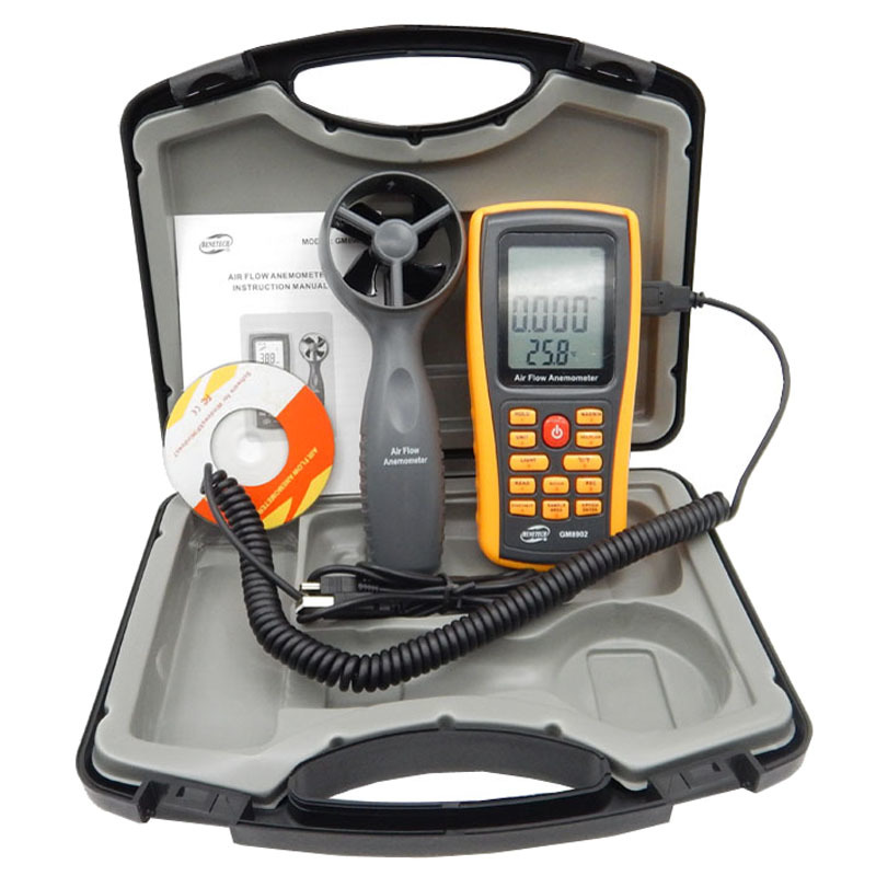 Air Anemometer handheld LCD Digital 45m/s Wind Speed Meter air flow anemometer USB interface with carry box GM8902  цены