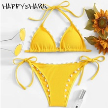 HAPPYSHARK Sexy Pompon Bikinis 2019 New Yellow Swimsuit Brazilian String Biquinis White Girls Summer Swimwear Maillot De Bain