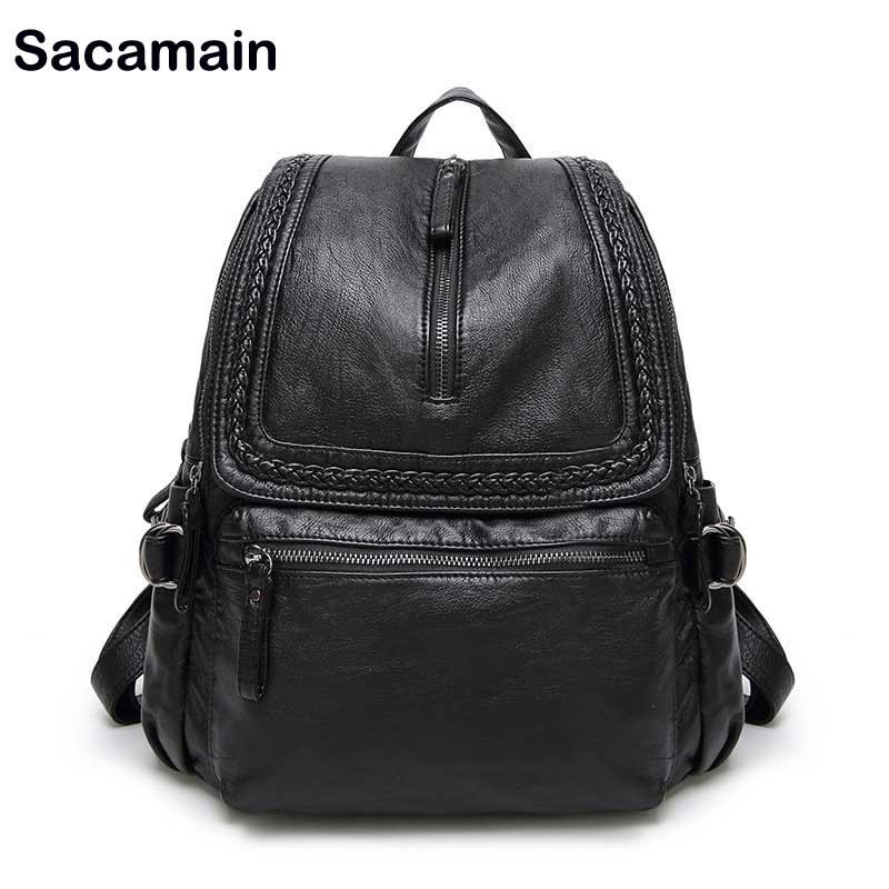 Sac à dos femme en cuir véritable de marque Sacamain sac à dos femme véritable première couche en cuir de vache sacs à dos femme voyage sacs en cuir Ipad