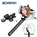 Mirror Extendable Selfie Stick Universal Folding Mobile Phone Monopod + 3in1 180 Degree Fish Eye/0.67X Wide/Macro Phone Lens Kit