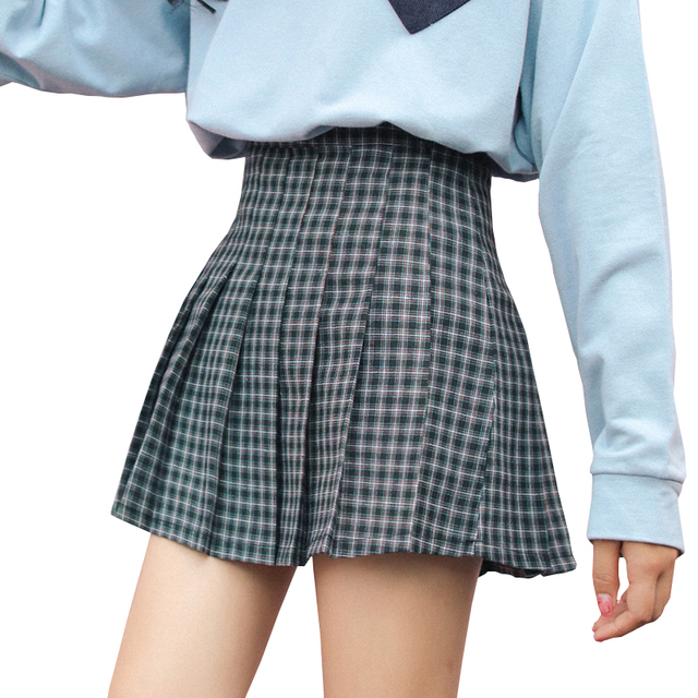 4381277c52 Harajuku Women Girls Plaid Skirt High Waist Pleated Skater Skirt A-line School  Skirt Uniform