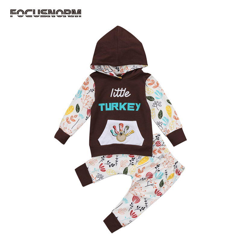 2017 New Casual Kids Baby Girls Clothes Set Floral Hooded Coat Tops Long Pants Thanksgiving Outfits 0-24M