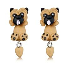 Fashion Handmade Polymer Clay Soft Cute Sharpei Pug Dog Earrings  Gift