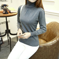 2017 autumn and winter fashion cotton sweater women European Puff Sleeve high-collar 12 color  Wool knitted sweater Female Warm