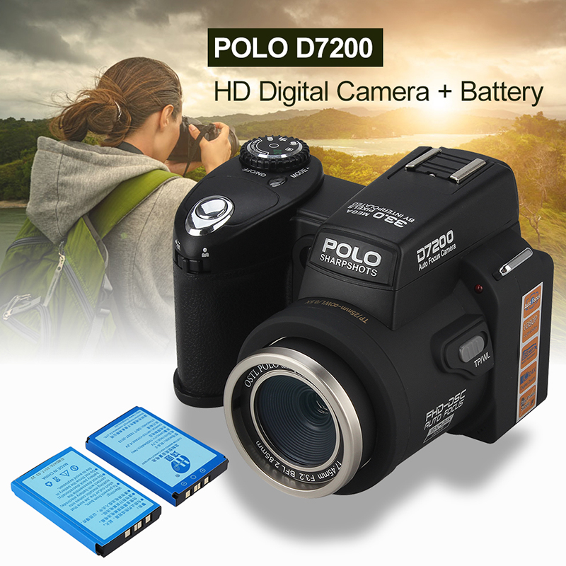 POLO D7200 33MP 1080P HD Digital 3 Lens Kit 1280x720 Camera Camcorder +2 Battery