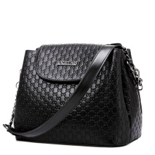 Classic Trendy Bucket Bag Embossed Leather Women Plaid Shoulder Bag All match Elegant Ladies Chain Shoulder