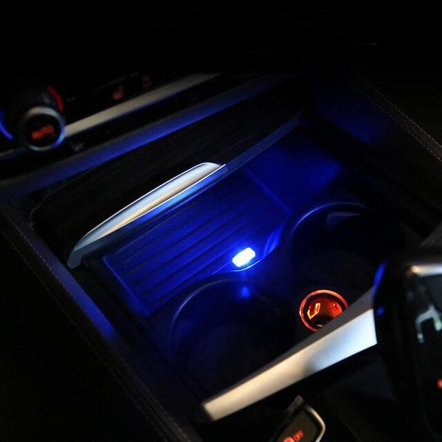 Auto Styling Tasse Halter lagerung box licht USB Dekorative Für Mercedes Benz GLC EINE B C E Klasse W205 Coupe w213 W176 W246 GLE GLS GL