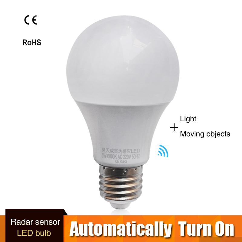 E27 LED Microwave Radar Motion Ambient Sensor Light Lamp Bulb Smart Light Bulb AC85-265V 9W 7w 5w For Corridor Garage Yard
