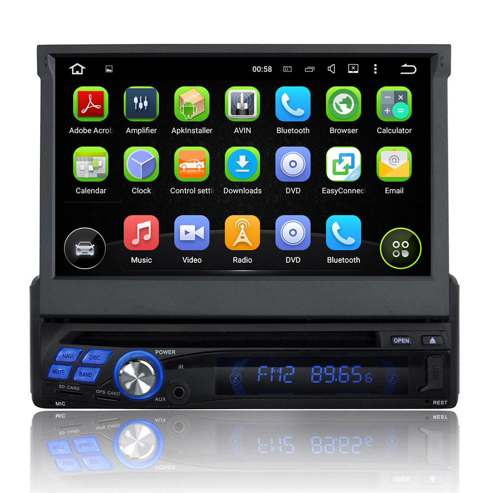 Newest Quad core Android 5.1.1 one 1din Universal Car DVD Player Built-in Wifi DVR GPS Auto Stereo Radio RDS  Bluetooth USB SD