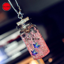 1pc Crystal Wishing Bottle Car Rearview Mirror Hanging Pendant Hanger Ornament Universal Auto Interi