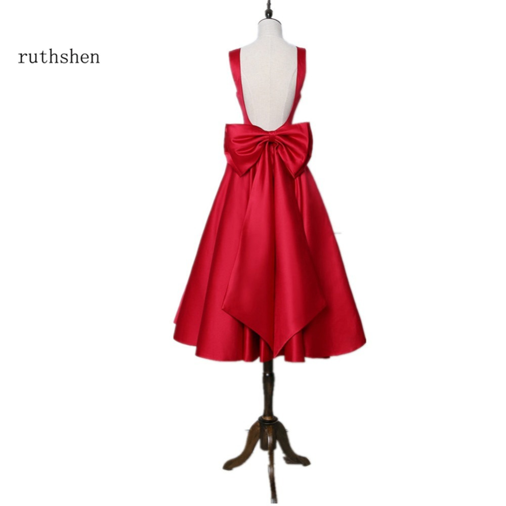 ruthshen Reflective Short   Prom     Dress   2019 Cheap Burgundy Red Tea Length Backless Cocktail Party   Dress   Junior Vestidos De Gala