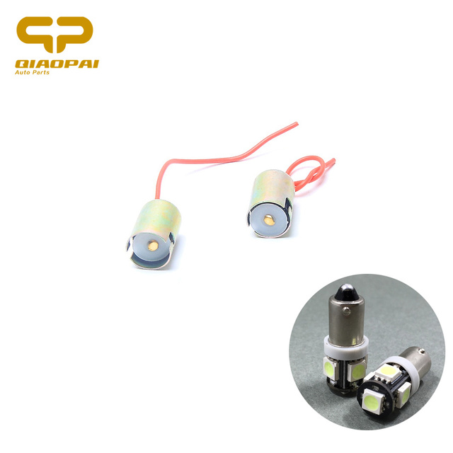 1 Pair LED BA9S Socket Indicator Light Lamp Base Single Wire Double ...
