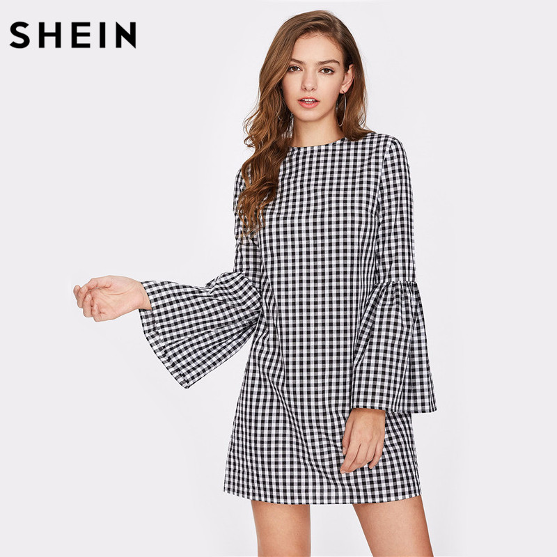 SHEIN Exaggerate Flare Sleeve Gingham Short Dress Black and White Plaid Long Sleeve Autumn Casual Womens
