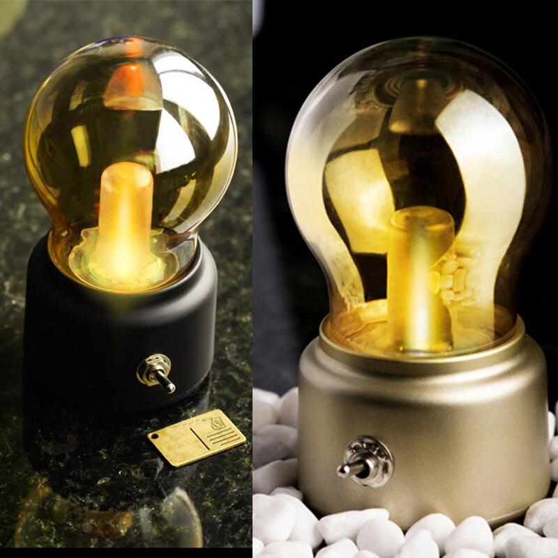 LED Night Light USB Rechargeable Vintage Bedroom Bedside Desk Lamp Home Decoration Lights CLH@8