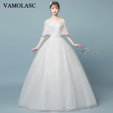 VAMOLASC Sweetheart Lace Ball Gown Wedding Dresses Off The Shoulder Sequined Illusion Half Sleeve Bridal Gowns