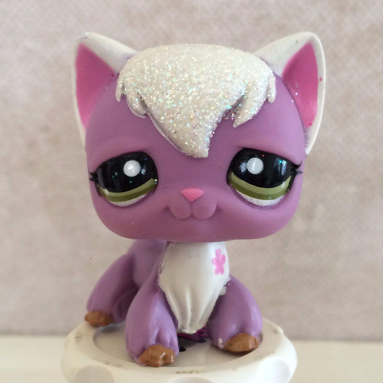 pet shop lps toys # 2271 Purple Sparkling Long Hair Angora Cat цена