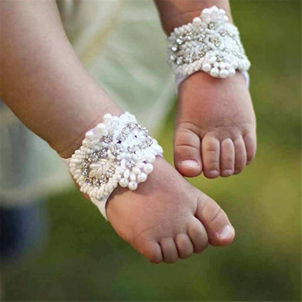 Fake Rhinestone Headband Foot Band Handmade Barefoot Sandals Shoes Flower Hair Band Accessories Girl Accessories