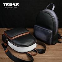 TERSE_Wholesale Prezzo 100% Degli Uomini del Cuoio Genuino Zaini di Viaggio Casuale Zaino Maschio di Affari di Modo Handmade Logo TS8480