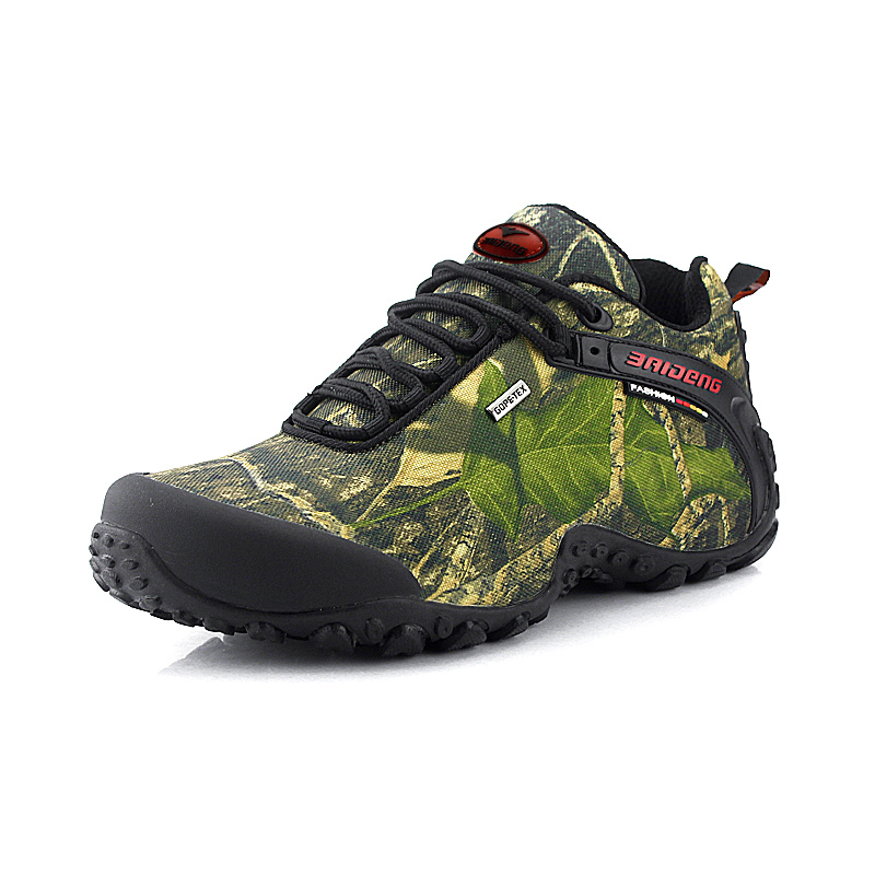 2017 Waterproof Hiking Shoes  canvas hiking shoes Anti-skid Wear resistant breathable fishing camping climbing rubber sole shoe