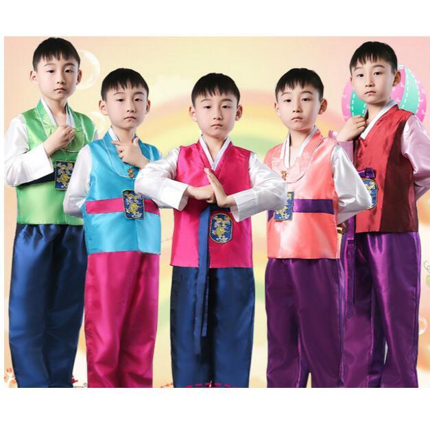 100% Waar Kinderen Koreaanse Nationale Kostuum Mannelijke Traditionele Koreaanse Hanbok 3 Stks Kids Aziatische Nationale Koreaanse Traditionele Kleding