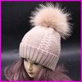 Bobble Pompón de piel de Mapache Sombreros de invierno Para Las Mujeres Mezcla de Lana de Cachemira de la Torcedura de Punto Skullies Gorros