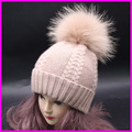 Winter Raccoon Fur Pompom Bobble Hats For Women Wool Cashmere Blend Knitted Twist Skullies Beanies