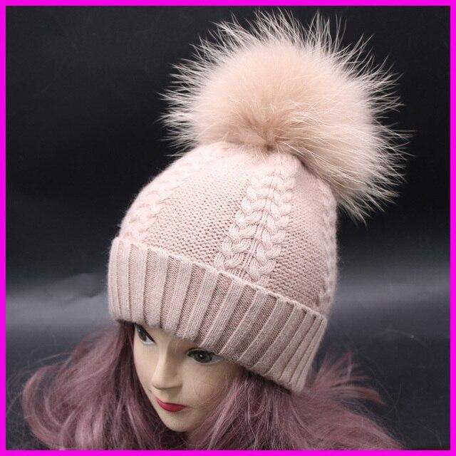 Winter Raccoon Fur Pompom Bobble Hats For Women Wool Cashmere Blend Knitted Twist Skullies Beanies