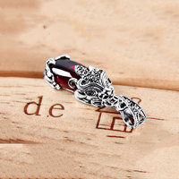 GZ 925 Silver Pixiu Pendant S925 Solid Thai Silver Synthetic Ruby Garnet Pendants For Women Jewelry