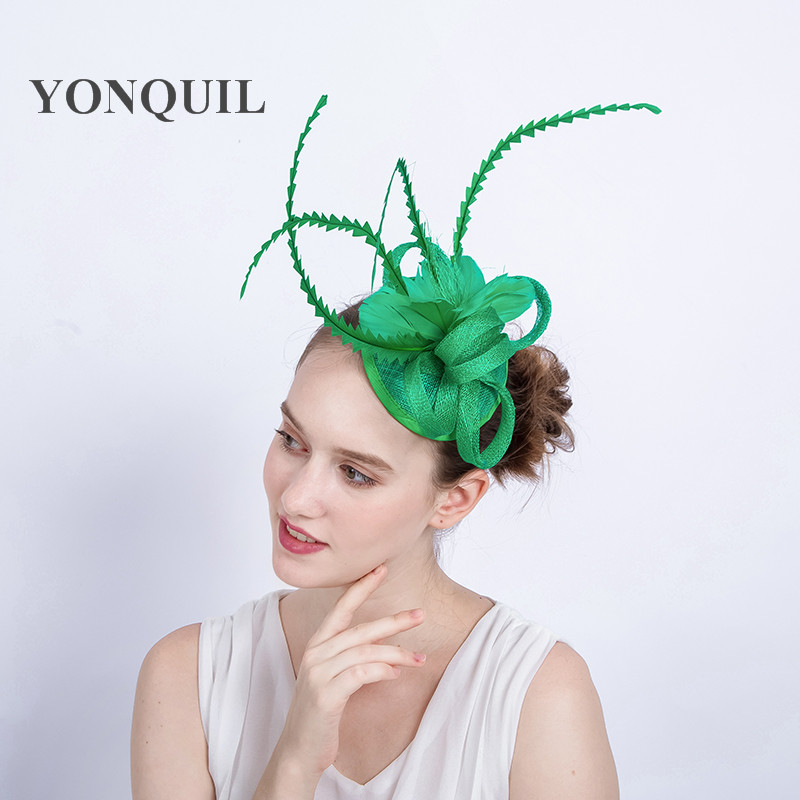 Green Solid Sinamay Party Fascinator Hat Sposa Church Hats Wedding ... e372b96e32f