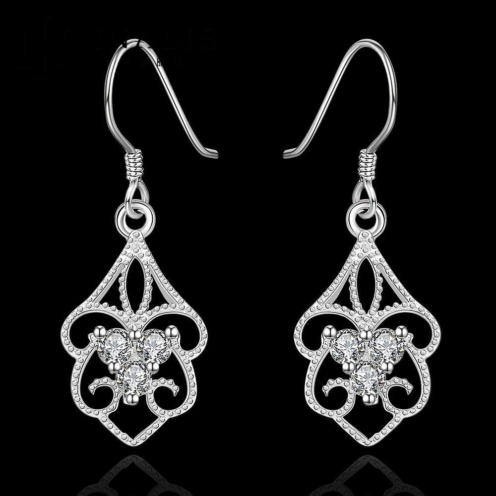 6b1310ccfa6a Venta al por mayor Top popular moda ZIRCON pendiente Niñas 925 joyería de  plata mujer earings Accesorios boda Pendientes de gota E551