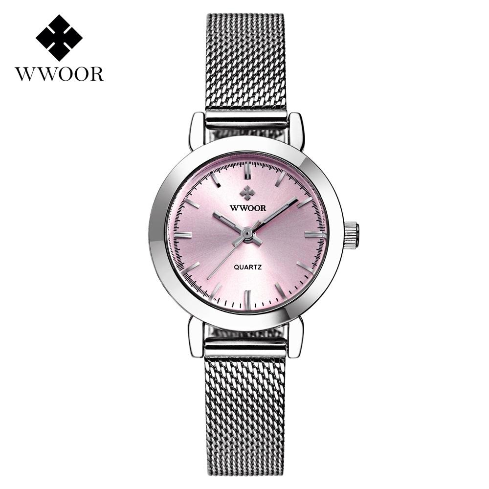 Prix pour Nouveau WWOOR De Luxe Femmes Montre Célèbre Marques Rose Cadran Design De Mode Bracelet Montres Dames Femmes Montres Relogio Femininos