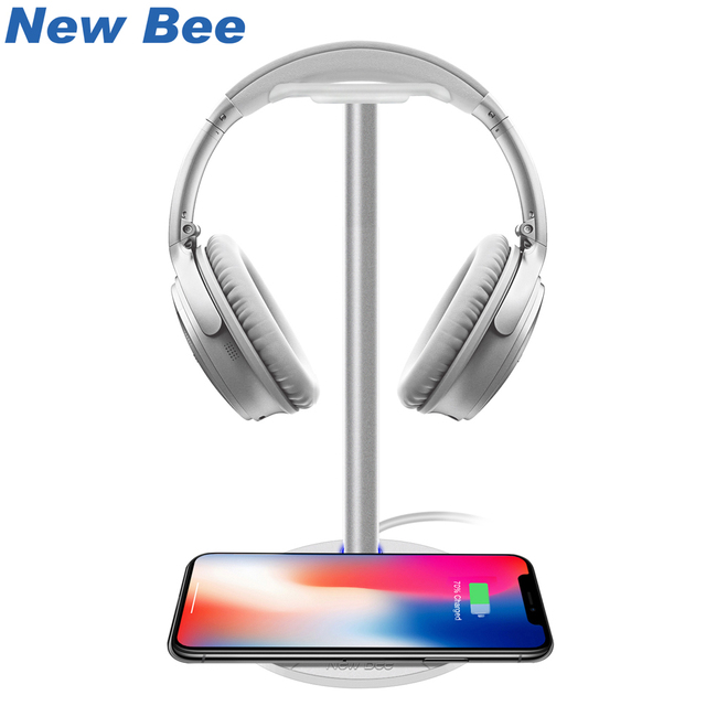 New Bee Wireless Charging Headset Stand Headphone Holder Fashion Aluminum Stand For Samsung Galaxy S7/S7Edge/S6/S6Edge HTC White