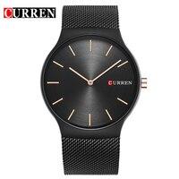 Fashion Simple Stylish Top Luxury Brand CURREN Watches Men Stainless Steel Mesh Strap Band Quartz Watch