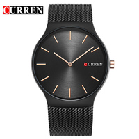 Fashion Simple Stylish Top Luxury Brand CURREN Watches Men Stainless Steel Mesh Strap Band Quartz Watch