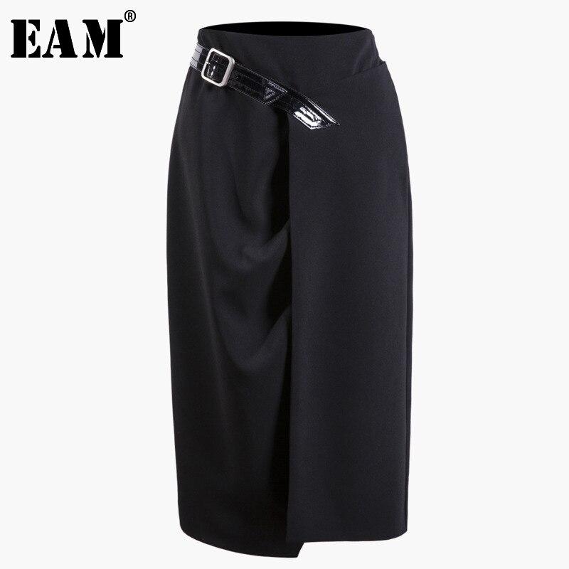 [EAM] 2020 New Autumn Summer High Elastic Waist Black Belt Pleated Fold Stitch Irregular Half-body Skirt Women Fashion Tide JS56