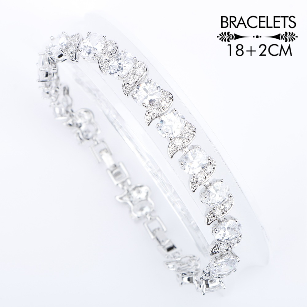 Image 2 - Natural White Zirconia Silver 925 Women Bridal Jewelry Sets Bracelets Rings Earrings With Stones Pendant&Necklace Set Gift Boxjewelry set 925jewelry setsset 925 -