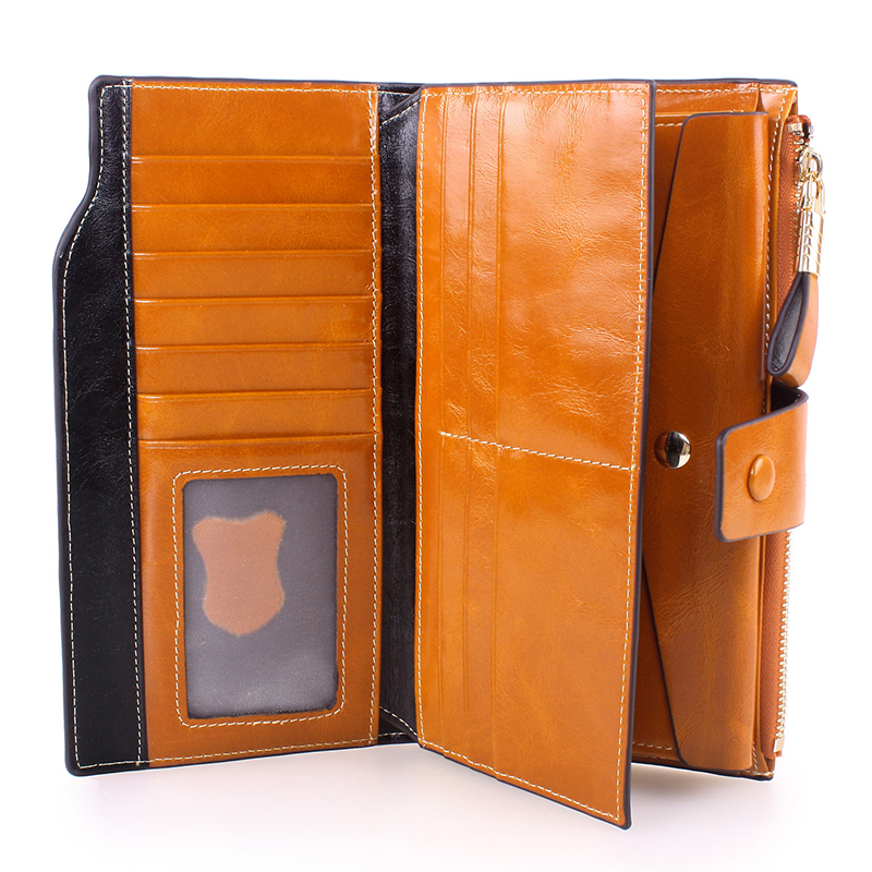 New Arrival Button Wallet  Lady Multifunctional  Purse Long Style Zipper Hasp  Oil Wax Cowhide Closure Huge Capacity Fashion Han women agraffe wallet multifunctional zipper purse long style closure huge capacity fashion hand money bag more card slots for ph